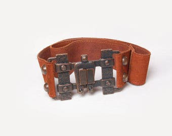 70s Vintage Real Leather Buckle Belt Tan Brown, Vintage Womens Belt, Wide Leather Belt, Western Belt, Tooled Leather Belt, Boho Accessories