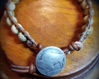 Natural stone bracelet/ Leather bracelet/ Button closure bracelet / picture jasper