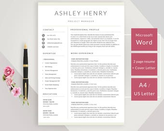 creative resume template for word instant download cv template design with cover letter - Download Resume Format In Ms Word
