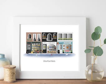 Amsterdam Travel Art Print - Storefronts