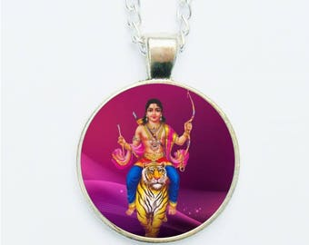 Lord Durga Hindu Pendant Necklace Earrings Ring or Pin Badge New Age Indian God Deity Lion Tiger Jewellery Gift