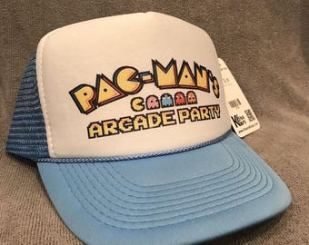 PAC MAN'S Arcade Party Hat Blue and White Vintage Trucker Mesh Snapback Cap! 2158