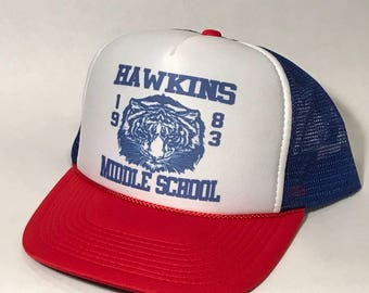 Hawkins Middle School 1983 Vintage  Trucker Hat SnapBack Cap Stranger Things