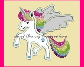 Unicorn applique digital design file. 5x7