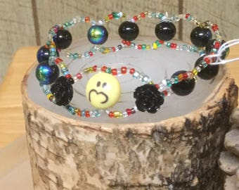Looping double strand emoji bracelet for adult