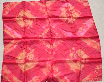 """30x30"""" tie dye , 8mm  habotai silk scarf  red and gold"""