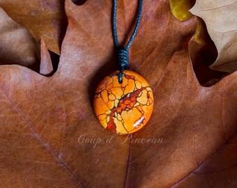"""Pendant """"pebble"""" painted by hand, imitation orange sea Sediment Jasper"""