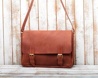 LEATHER MESSENGER BAG  Leather bag. Laptop bag. Messenger bag. Messenger bag men. Leather laptop bag. Leather satchel. mens leather bag