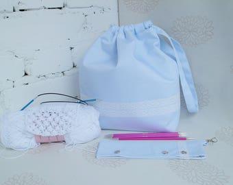 White drawstring knitting bag Knitting bag Yarn storage bag Sock project bag DPN holder Set of 2 knitters gift bag Crochet project bag