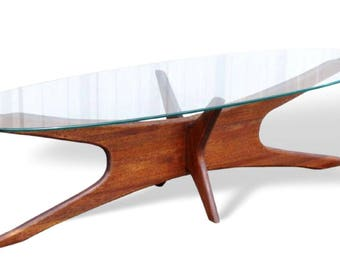 "SALE! Adrian Pearsall Mid-Century Modern Walnut and Glass Elongated ""Jacks"" Coffee Table"