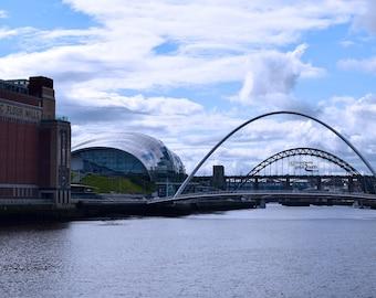 Newcastle quayside, Tyne Bridge, Millennium Bridge, The Sage and The Baltic.