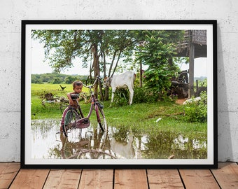 Rural Cambodia Photo // Village Boy Portrait, Asia Travel Photography Print, Rice Field Wall Art, Cambodian Village Landscape, Home Decor
