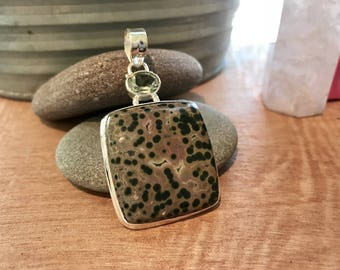 Ocean Jasper Pendant with Green Amethyst // Ocean Jasper Necklace // crystal healing necklace // Jasper Pendant // jasper necklace // sterli