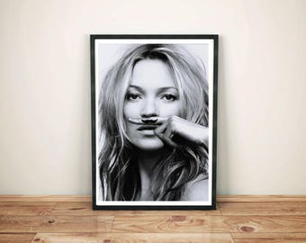 Kate Moss Art Print-  Moustache Mustache Kate Moss Poster- Kate Moss Moustache Fashion Gift