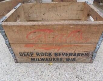 Vintage Wooden Box Crate Graf's Deep Rock Beverages Milwaukee Wisconsin