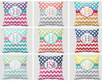 Monogram PILLOW, Throw Pillow, Chevron Polka Dots, Pillow Cover or With Insert, Matching Bedding, Choose Your Colors, Made in USA
