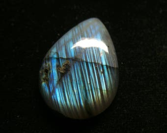 Labradorite   Pear Cabochon, 1 pec,  Size- 38x25x7 MM, Multi Flashy , AAA,  Loose Gemstone, Smooth Cabochons.