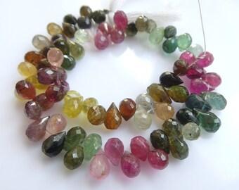 Multi Tourmaline Drops Beads, Size- 4x6 MM, Natural Tourmaline Beads, AAA Quality, Faceted,Bead, Natural Gemstone, 8 INCH