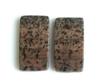 Honey Dendritic Rectangal Pair Cabochon,Size- 24x12 MM, Natural Honey Dendritic, AAA,Quality  Loose Gemstone, Smooth Cabochons.