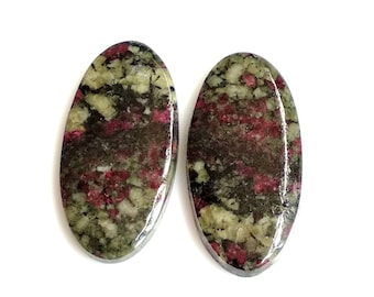 Eudialiyte Oval Pair Cabochon,Size- 29x14, MM, Natural Eudialiyte, AAA,Quality  Loose Gemstone, Smooth Cabochons.