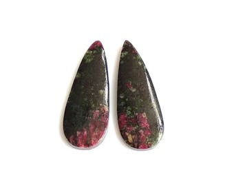 Eudialiyte Pear Pair Cabochon,Size- 30x11, MM, Natural Eudialiyte, AAA,Quality  Loose Gemstone, Smooth Cabochons.