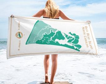 Bald Head Island NC coastal map beach towel • 60 inches terry fabric