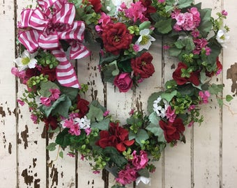 Valentine's Heart Shaped Wreath with Red Hydrangea, Pink Geranium, Cream Hellebores and a Pink Striped Bow - Ready to Ship