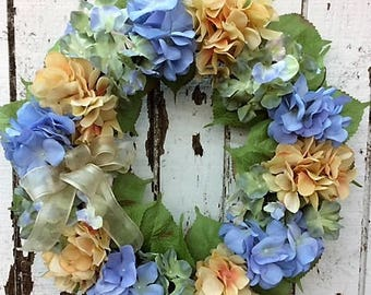 Everyday Hydrangea Wreath with Periwinkle, Dusty Yellow and Light Green Hydrangeas with a Sheer Dusty Yellow Bow - Ready to Ship