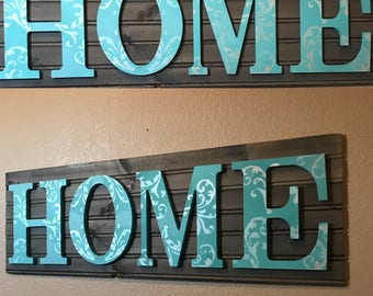HOME Filigree plank sign