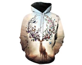 Deer Hoodie, Deer, Deer Hoodies, Animal Prints, Animal Hoodie, Animal Hoodies, Deers, Hoodie Deer, Hoodie, 3d Hoodie, 3d Hoodies - Style 7