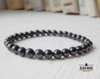 Natural Shungite Bracelet 6, 8, 10, 12 mm, shungite bracelet for women, shungite bead bracelet, black shungite bracelet, genuine shungite