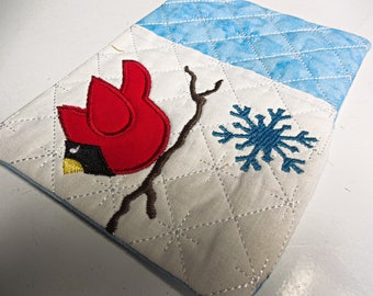 Winter themed red cardinal quilted embroidered Mug Rugs Great Gifts Coffee Tea for grads moms teachers friends brides co workers new home