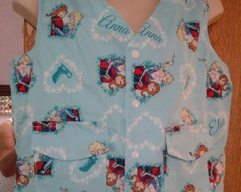 XXS - Med Weighted Vest for Child w/Special Needs and Sensory Issues. Frozen's Elsa & Anna Print.