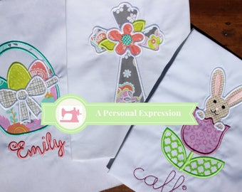 Easter Applique Girl Personalized Shirt / Easter Basket / Easter Bunny Tulip / Cross Flower / Shirt / Gown / Onesie / Embroidery