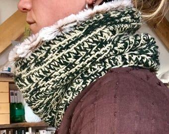 Neck wool faux fur double crochet