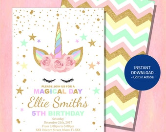 Unicorn Invitation, Unicorn Birthday Invitation, Glitter Unicorn Invitation , Floral Unicorn , Magical Unicorn, Digital File