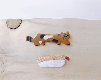 Handcarved Cat n Ebi Nigiri Sushi Brooch Set, recycled wood handmade pin gift set,  made in north vancoucer, canada, love nature
