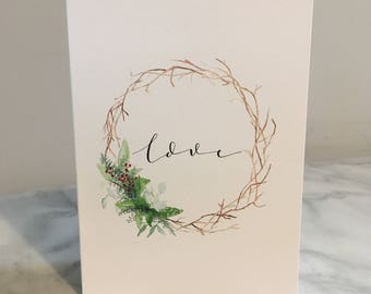 Love || Christmas Wreath Design || A6 Greeting Card