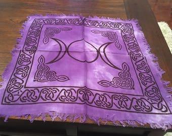Triple moon altar/ tarot cloth