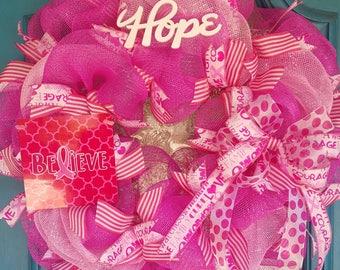 Breast Cancer Awareness Wreath, Pink Wreath, October wreath, front door wreath, front door decor, breast cancer awareness decor, pink decor