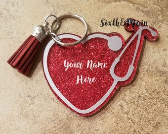 Custom Heart Stethoscope Acrylic Glitter Keychain, Doctor Keychain, EMT Keychain, Nurse Keychain, RN Keychain, Medic Keychain