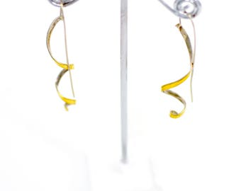 18K Fine Silver and 14K White Gold Wire Post Earrings