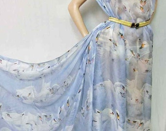 Pure mulberry silk dpc-33036 White on Grayish Blue Digital Print Pattern 6mm Pure Silk Chiffon Fabric material sheer Yard or Meters