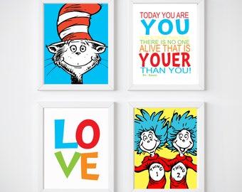 Dr Seuss Nursery Prints, Kids Bedroom Prints,