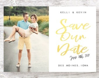 Gold Script Save the Date - Printable & Customized