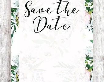 Semi-Transparent Save the Date with Floral Background - Printable Template and Digital Download