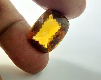 Top Quality of Natural Gemstones Brazilian Brandy Citrine Quartz  Square Cushion Shape 22 Carat  Size 15 x 20 x 12 mm