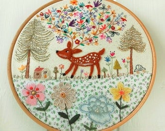 Flowers in the Forest - Embroidery Hoop Art - Cute Deer - Nursery Decoration
