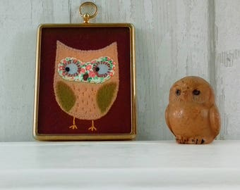 Olivia Owl - Cute Vintage Framed Embroidery