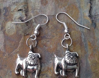 Bulldog dangle earrings sterling silver shepherd hooks